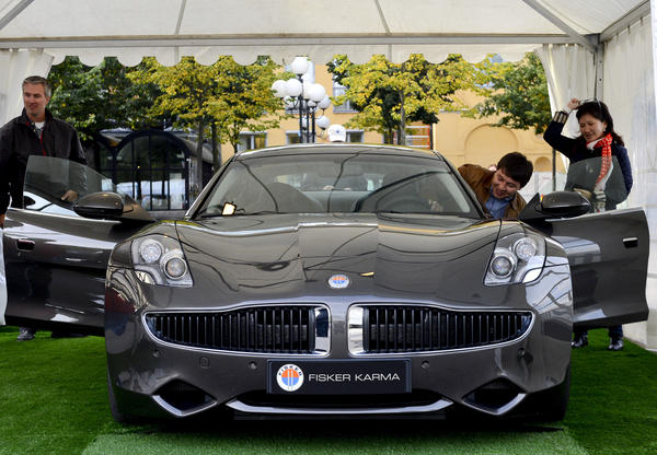 The Fisker Karma, a plug-in hybrid luxury sports sedan produced by Fisker Automotive and manufactured at Valmet Automotive in Finland, is displayed during the Stockholm Car Festival at Kungstradgarden on September 21, 2012. The Stockholm Car Festival, Sweden's all time first outdoors car show takes place in the city from September 21 to 23.    AFP PHOTO/JONATHAN NACKSTRANDJONATHAN NACKSTRAND/AFP/GettyImages ORG XMIT: