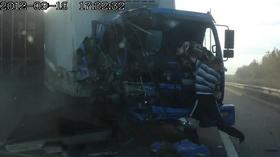 Russian dash cam catches amazing truck crash