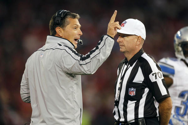 Detroit Lions head coach Jim Schwartz argues with referee Richard Nicks (70) during action against the San Francisco 49ers in the third quarter at Candlestick Park. The 49ers defeated the Lions 27-19.