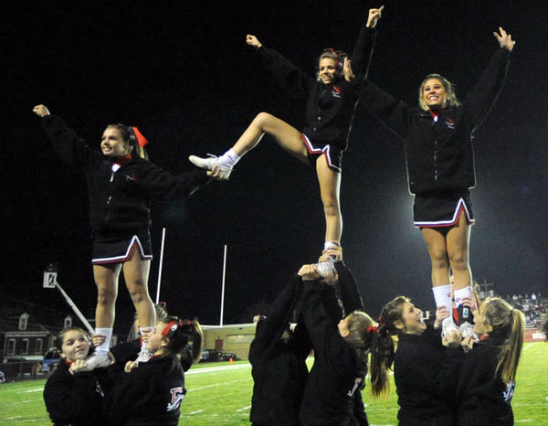 2010 file photo of the Easton Area High School cheerleaders during a District 4A football playoff game.