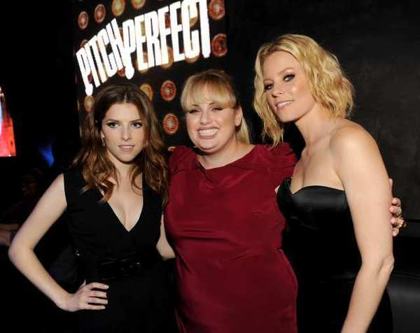 "Anna Kendrick, left, Rebel Wilson and Elizabeth Banks attend an after party for their new movie ""Pitch Perfect."""