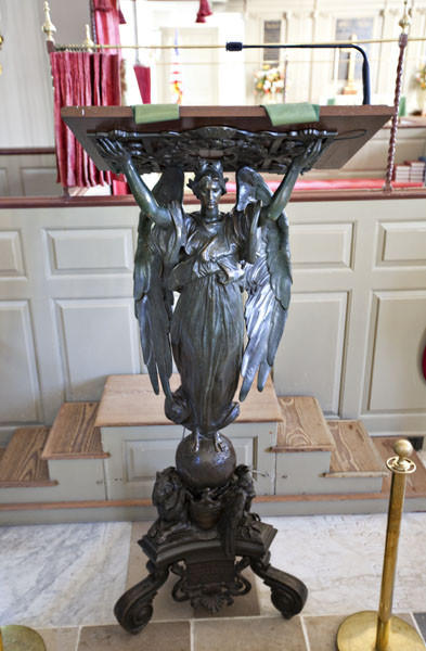 In 1907 President Theodore Roosevelt presented the Bronze Lectern to Bruton to commemorate the 300th anniversary of the first permanent English settlement and the establishment of the Anglican church at Jamestown. (Info from the 'A Brief Guide to Bruton Parish Church')