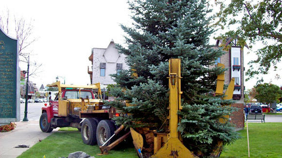 A new 25-foot spruce tree was planted Monday on the front lawn of the Otsego County Building.