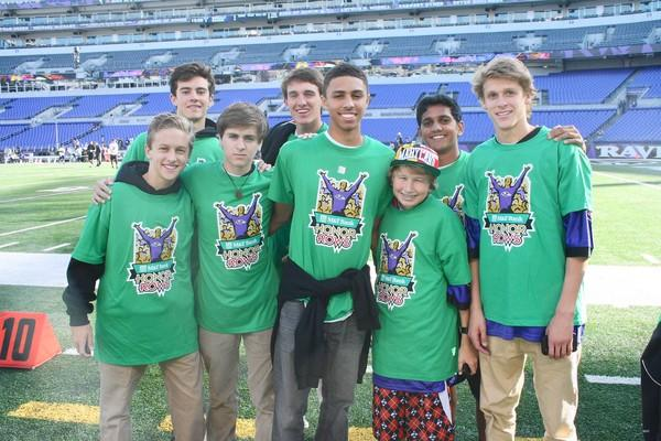 Members of the Calvert Hall College High School Peer Ministry group attended the Baltimore Ravens' opening day game on Sept. 10. Students included, from left, (Left to right) Daniel Fetcho, Greg Carter, John Brooks, David Gately, Darryle Edwards, Joe Baker, Sherill Sen and Michael Seicke.