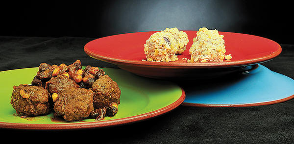 Meatballs can vary in type of meat used, flavor profile and cooking style. Here are samples of cashew chicken balls - made with cheddar cheese and already-cooked chicken - and a Mexican-style meatball, made with raw vegetables and meat that is first fried and then cooked in a chipotle sauce.