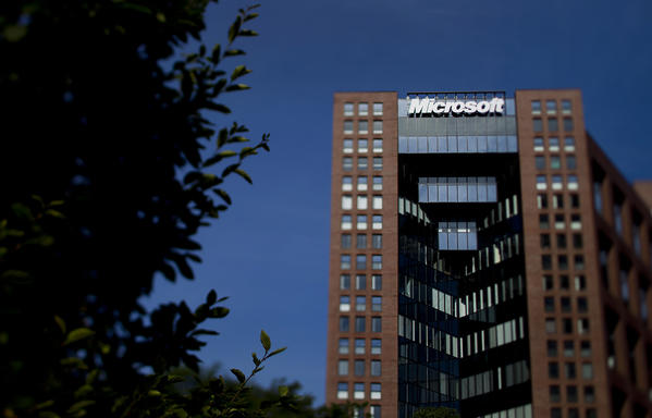 Microsoft Corp.'s offices in Boston. Microsoft is rated highly in a new study on corporate disclosure of political contributions.