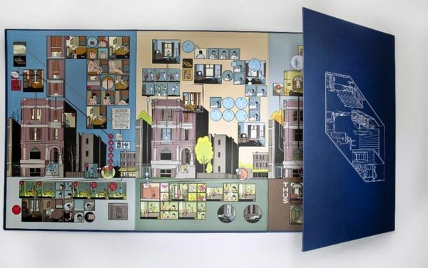 "Still life of one of 14 pieces of ""The Building Stories"" by Chris Ware."