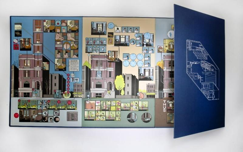 """Still life of one of 14 pieces of """"The Building Stories"""" by Chris Ware."""