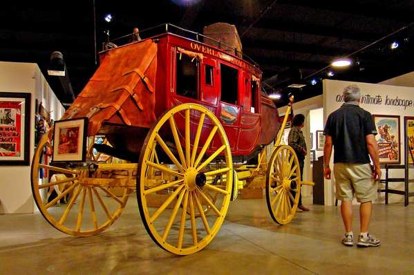 "Tyrone Power and Susan Hayward rode in this stagecoach, now on display at the Lone Pine Film History Museum, during the filming of ""Rawhide"" in 1951."