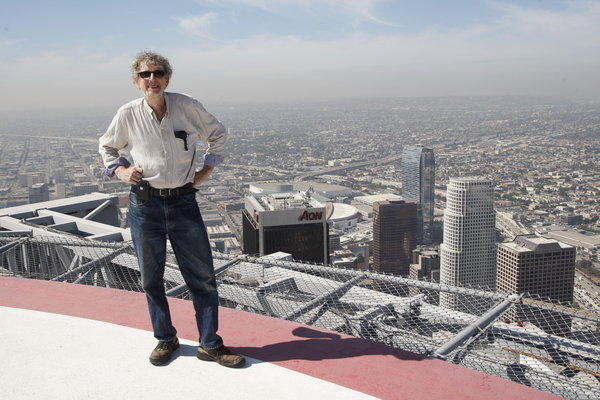 Times photographer Gary Friedman on the helipad of the U.S. Bank tower.