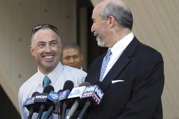 Drew Peterson attorneys Steve Greenberg, left, and Joel Brodsky speak last month to reporters. Greenberg was dismissed this month after a post-verdict spat with Brodsky.