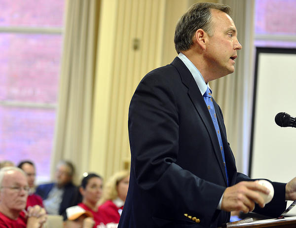 Tom Riford, president and CEO of the Hagerstown-Washington County Convention and Visitors Bureau, speaks in favor of Hagerstown's proposed multiuse sports and events center during a Hagerstown City Council meeting Tuesday.