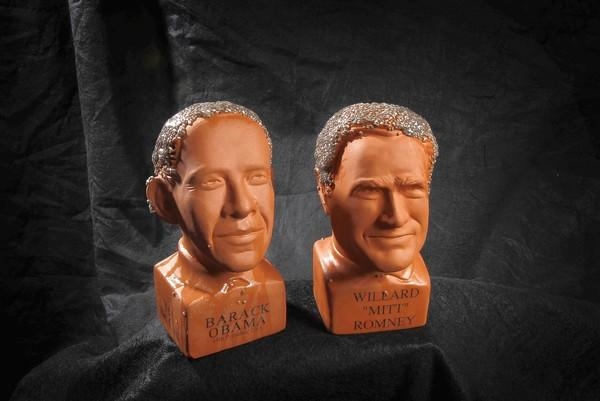 Chia Obama and Chia Romney heads square off.