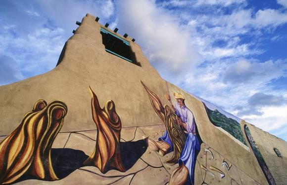 New Mexican Mural on Adobe Building
