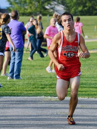 Parkland's Trevor Bergen places first during a cross country meet with Parkland, Whitehall, Liberty and Freedom at Freedom High School on Tuesday.