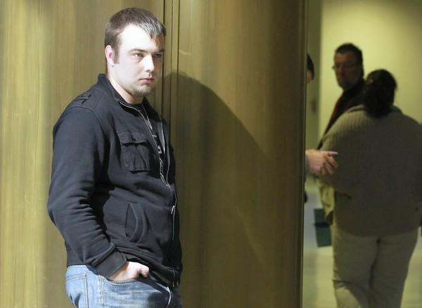 Lukasz Marszalek, the driver in the two-car crash that killed Julie Gorczynski, waits for the start of his sentencing hearing Tuesday at the Bridgeview courthouse. He got 180 days in jail for aggravated speeding.