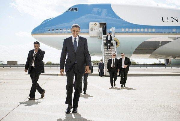 President Obama arrives in New York.