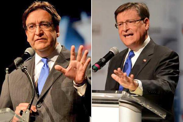 Democrat Pete Gallego, left, debated Republican Rep. Francisco Canseco in Texas' first Spanish-language congressional debate, in San Antonio.