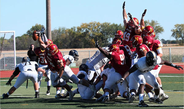 Mason Thorstad of Northern State made this game-winning block Saturday at Swisher Field in Aberdeen.