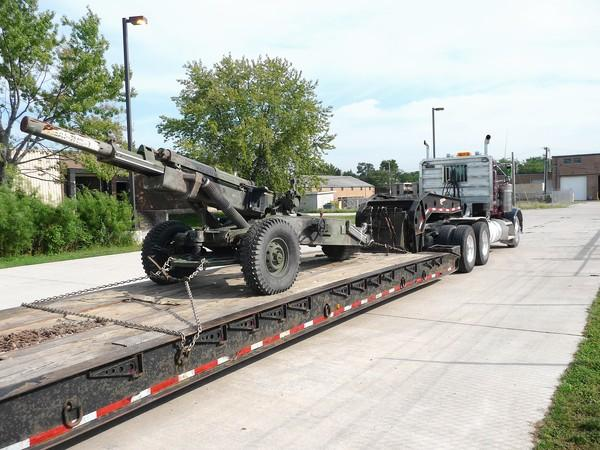 The memorial cannon being shipped to the city of Palos Hills in early September. Public Work is currently working on the cannon, welding parts and removing rust. The city hopes to have the cannon painted and on site at Town Square Park by Veterans Day, city officials said.