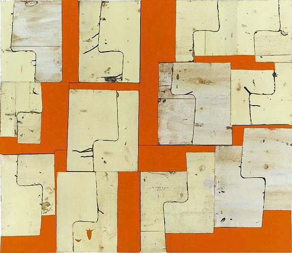 "Gordon Powell's ""Construction with Orange"" is the first piece in the Hinsdale Public Library's permanent collection."