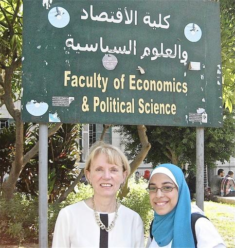 College of DuPage Professor Carol Riphenburg, left, poses with a student at Cairo University.
