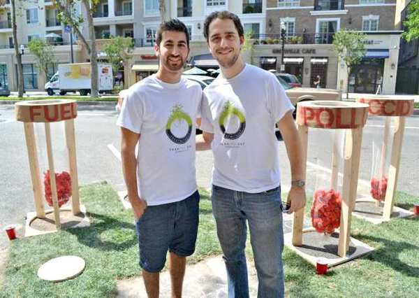 Alexander Baghdasarian, left, and Gabriel Yeganyan are two of the designers who worked on the PARK(ing) Day event on Brand Boulevard on Friday.