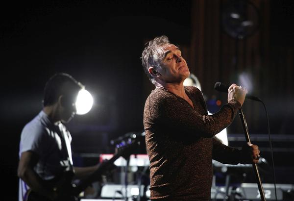 Morrissey performing at the Shrine Auditorium in Los Angeles.