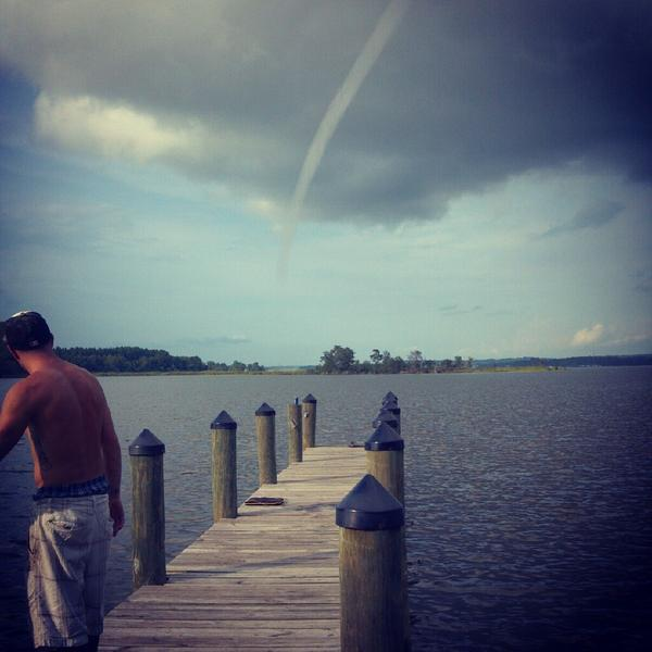 A reader-shared photo of the waterspout spotted on the Patuxent River in Southern Maryland on Tuesday.