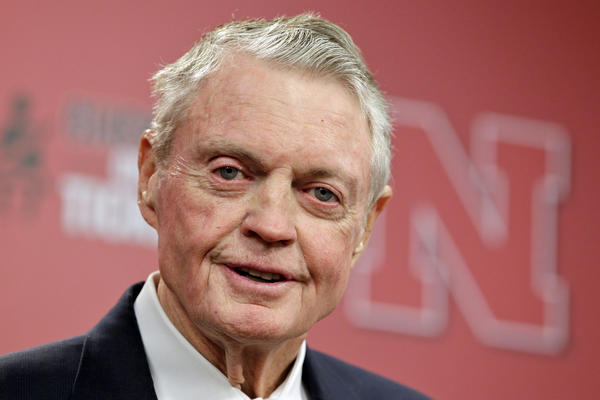 Nebraska athletic director Tom Osborne at the news conference announcing that he'll retire effective Jan. 1.