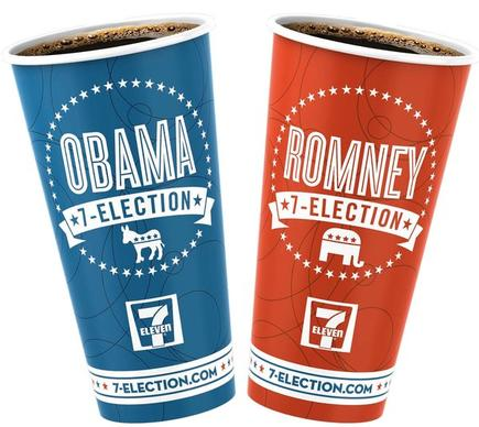 "Billed as unabashedly unofficial and unscientific, 7-Election invites customers to vote by selecting specially marked coffee cups, blue for President Barack Obama and red for former Massachusetts Governor Mitt Romney. 7-Eleven's regular ""nonpartisan"" cups are also available for undecided customers or those who would rather not publicize their presidential preference. 7-Election cups are instantly tabulated at the register when the sale is made. National, state and major market results are posted daily on <a href=""http://www.7-election.com"" target=""new"">7-election.com</a>, a website created especially for the coffee-cup poll."