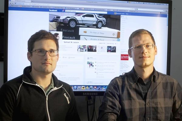 Sam Lessin, left, and Nicholas Felton are shown at Facebook's headquarters in Palo Alto, California, on November 16, 2011. Lessin and Felton developed the site's Timeline feature.