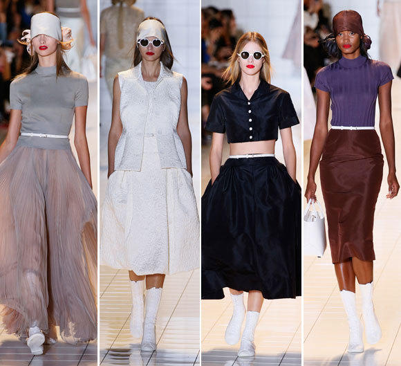 Looks from the Rochas spring-summer 2013 runway collection shown during Paris Fashion Week.
