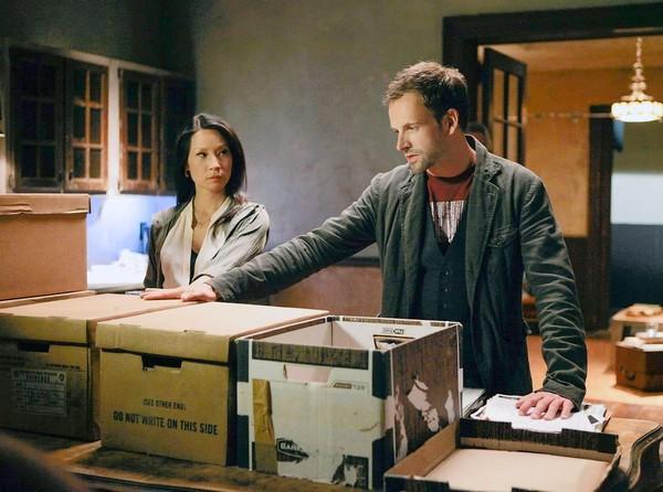 "Jonny Lee Miller and Lucy Liu star in ""Elementary."""