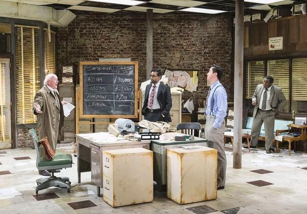 "Peter Maloney, Manu Narayan, Johnny Wu and Ray Anthony Thomas in ""Glengarry Glen Ross."""