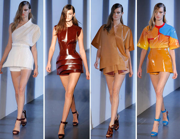 Looks from the Mugler spring-summer 2013 runway collection shown during Paris Fashion Week.