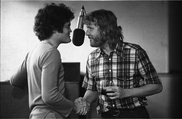 "Micky Dolenz, left, with Harry Nilsson in a recording studio circa 1972, has recorded Nilsson's song ""Remember"" for his new solo album."