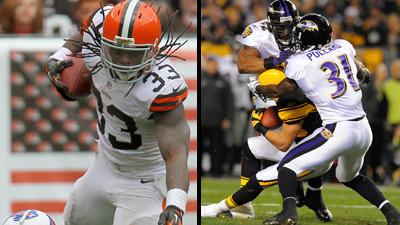 The Browns would prefer to slug it out in the running game with Richardson, who can run with power or finesse. Unfortunately for the Browns, they often get behind and have to get away from the running game. Lewis will shadow Richardson in the Ravens' base defense, and Pollard likes to play inside the box in run support. The Ravens want to take Richardson out of the game and then force the Browns to rely on Weeden.<br>