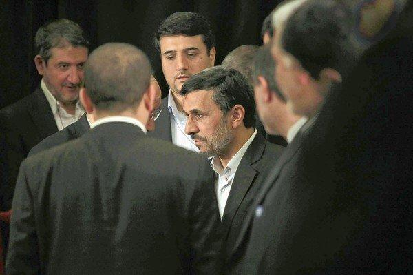 Iranian President Mahmoud Ahmadinejad leaves a news conference at New York's Warwick Hotel. Ahmadinejad's annual address at the U.N. General Assembly lacked its customary fire.