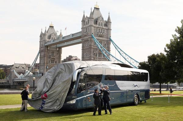 The first Greyhound coach to operate in Britain is unveiled in London in 2009.