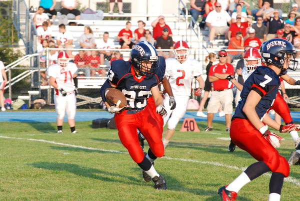 Boyne City junior running back Connor Mills (left) and the Ramblers will play a Lake Michigan Conference contest Friday, Sept. 28, at East Jordan. Should the Ramblers win, they'll clinch their first playoff berth since 2009.