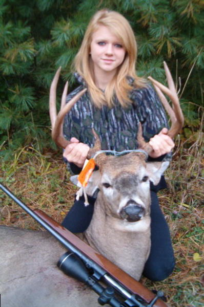 "Katelynn Brooks, 13, an East Jordan resident and student at North Central Academy, shot this eight-point buck with her dad in Antrim County. ""Her dad, Michael Brooks, has been taking her out with him since she was 5, and she has spent hours in the woods learning how to get the job done right,"" said her mother, Elizabeth Brooks."