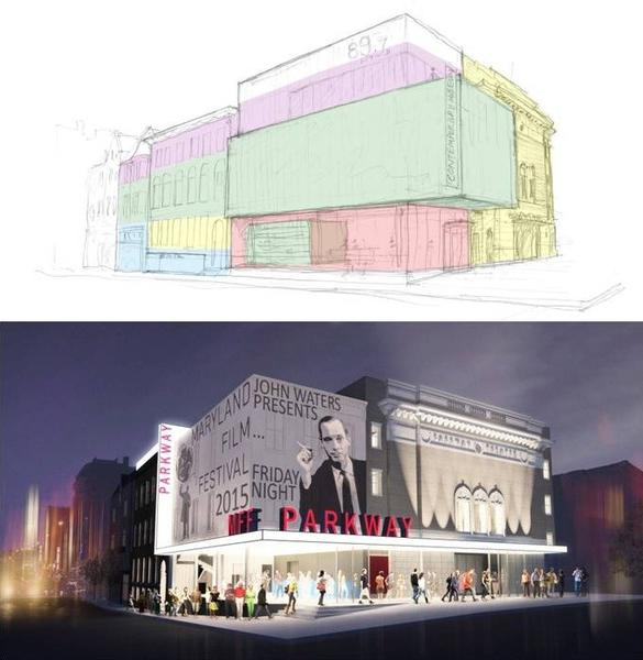 The top rendering is Property Consulting Inc.'s $12.2 million plan for the theater; on the bottom is the Maryland Film Festival's $16.8 million proposal. The plans were discussed by the Baltimore Development Corp. board on Thursday.
