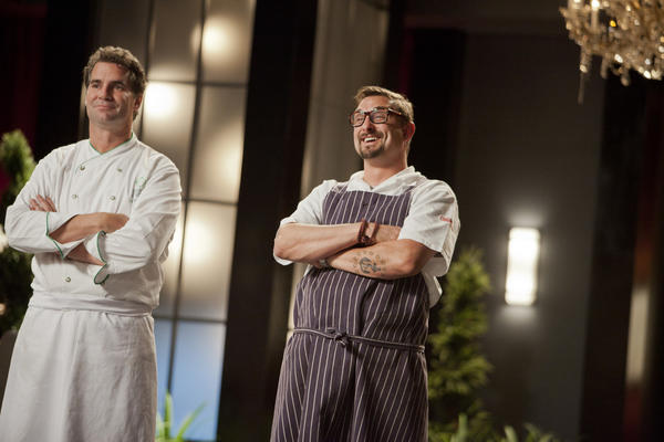 "TOP CHEF MASTERS -- ""Final cook - Ep. 410"" --Pictured: (l-r) Kerry Heffernan, Chris Cosentino -- (Photo by: Isabella Vosmikova/Bravo)"