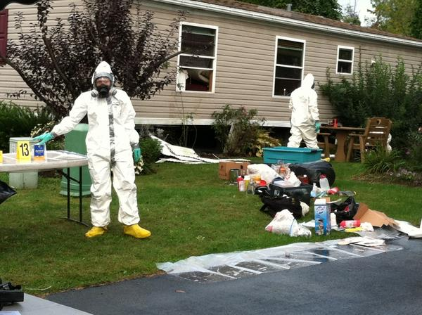 Photos from the scene of a report of a fire at a mobile home park in Lower Macungie Township that turned into a state police investigation of a methamphetamine lab, on Thursday, September 27, 2012