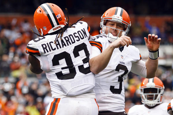 The Browns' all-rookie backfield remains a work in progress, but both Weeden, a 28-year-old quarterback from Oklahoma State and a former minor league baseball player, and Richardson, a former Alabama star runner, have displayed potential. Richardson has rushed for 175 yards and two touchdowns, memorably running over Philadelphia Eagles safety Kurt Coleman and causing facial lacerations on the defensive back. Weeden had an awful NFL debut in a loss to Philadelphia, completing only 12 of 35 passes for 118 yards with four interceptions. Richardson gained 109 yards and ran for a touchdown and caught one against the Cincinnati Bengals, but was bottled up by the Bills' front seven last week. He was limited to 27 yards on a dozen carries with one touchdown run. Although both players have promise, this shapes up as another rough initiation for Weeden and Richardson into the NFL fraternity as they'll square off with middle linebacker Ray Lewis, free safety Ed Reed and defensive tackle Haloti Ngata. Lewis is someone that Richardson idolized growing up, but now he'll take him on in an actual NFL game. The Ravens rank 18th against the run, allowing 111.7 rushing yards per game, and rank 27th in total defense giving up 401.3 yards per contest. Reed could bait Weeden into mistakes tonight. Weeden has already thrown six interceptions with an interception percentage of 5.2 percent. For his 19-game career against various Browns quarterbacks, Reed has 10 interceptions for three touchdowns with 18 pass deflections.