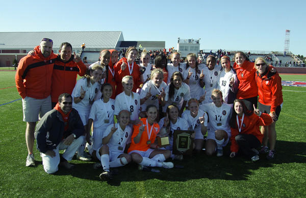 The McDonogh girls soccer team celebrates its win in the IAAM A Conference championship game over Archbishop Spalding.