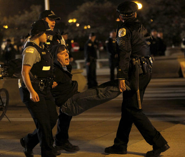 A protester being arrested in Grant Park in October.