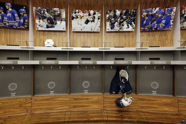 An empty Buffalo Sabres locker room at the First Niagara Center.