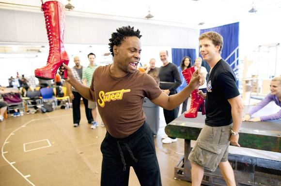 "Billy Porter, left, who plays the role of Lola, rehearses a scene with Stark Sands, right, who plays the role of Charlie Price, and other members of the cast of ""Kinky Boots"" at the New 42nd Street Studios in New York."